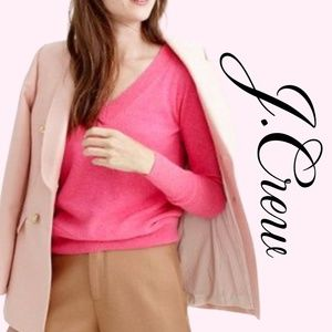 Hot Pink J Crew V Neck Pull Over Sweater